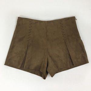 Mango SUIT Brown Faux Suede Lace Up Shorts